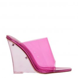 Neon Pink perspex shoe on a wedge heel - side view. Fearless by Lipstik Shoes