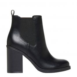 women's non leather high heel gusset ankle boot with round toe and block high heel - side view - Lipstik Shoes
