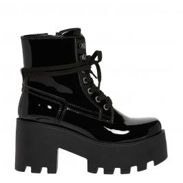 Lipstik patent military style lace up boot