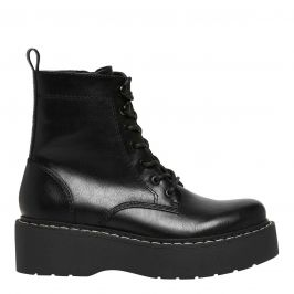 womens black lace up boot with flatform