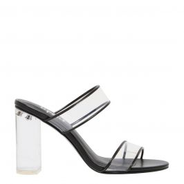 Kristen - high heel mule with clear heel and two wide perspex strips on side view by Lipstik Shoes