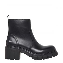 Women's non leather biker boot with a platform block heel and inside zip - Lipstik Shoes  side view
