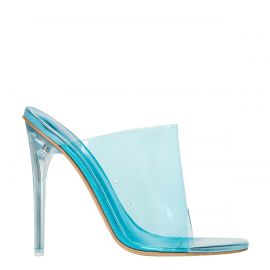 Neon Blue perspex mule on a stiletto heel - side view. Faze by Lipstik Shoes