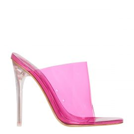 Neon Pink perspex mule on a stiletto heel - side view. Faze by Lipstik Shoes