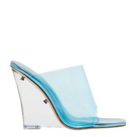 Neon Blue perspex shoe on a wedge heel - side view. Fearless by Lipstik Shoes