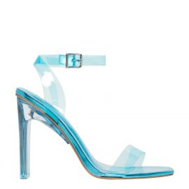 Neon Blue perspex shoe on a block heel and ankle strap - side view. Feels by Lipstik Shoes