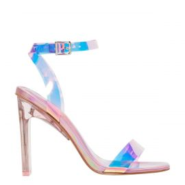 Women's pink metallic holographic perspex upper high heel with non leather lining and ankle buckle strap. Feels Pink Holographic by Lipstik Shoes. Side view.