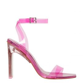 Women's neon pink perspex upper high heel with non leather lining and ankle buckle strap. Feels Pink by Lipstik Shoes. Side view.