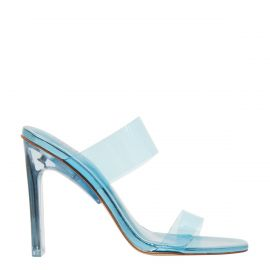Women's blue perspex upper wide strip mule heels with metallic non-leather lining. Feud neon blue by Lipstik Shoes. Side view.