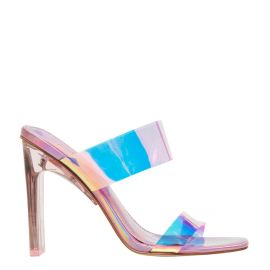 Women's pink holographic metallic perspex upper wide strip mule heels with metallic non-leather lining. Feud pink holographic by Lipstik Shoes. Side view.