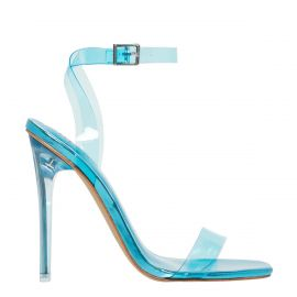 Blue stiletto high heel with ankle strap - side view. Flashin from Lipstik Shoes.