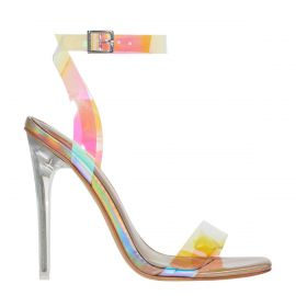 Rose gold stiletto high heel with ankle strap - side view. Flashin from Lipstik Shoes.