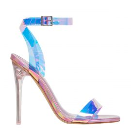 Pink metallic stiletto high heel with ankle strap - side view. Flashin from Lipstik Shoes.