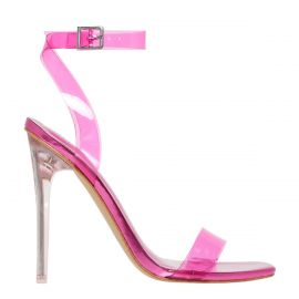 Pink stiletto high heel with ankle strap - side view. Flashin from Lipstik Shoes.