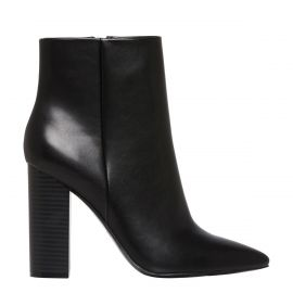 Women's black pointed ankle boots - side view - Lipstik Shoes