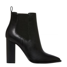 Block heel ankle gusset boot from Lipstik Shoes - side angle