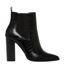 Black croc print ankle boot on an side from Lipstik Shoes