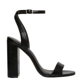 Women's black sandals with snake print texture - side view Lipstik Shoes