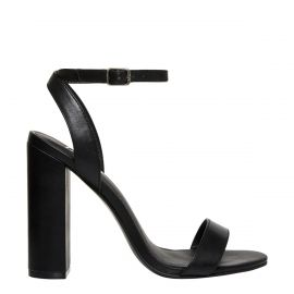 Women's black ankle buckle block heel sandals - side view Lipstik Shoes