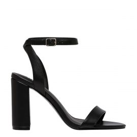 Women's non leather block heel sandal shoes - side view - Lipstik Shoes