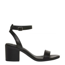 black mid heel sandal with block heel