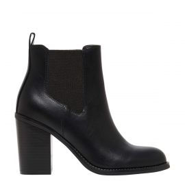 LIPSTIK - Derby Black Gusset Boots with 8cm heel - Side Profile