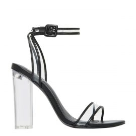 non leather sandal with clear perspex high heel from Lipstik Shoes - side view