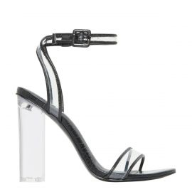 Lipstik Ghost black croc print sandal with clear perspex high heel sandal - side view
