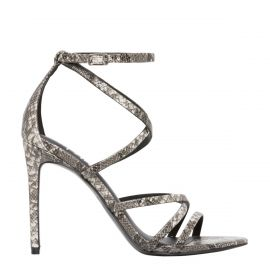 Women's non leather strappy snake print stiletto sandal - side view - Lipstik Shoes