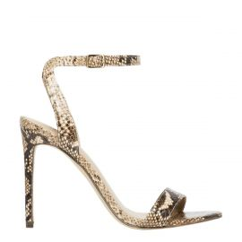 Women's non leather snake stiletto sandal shoes - side angle - Lipstik Shoes