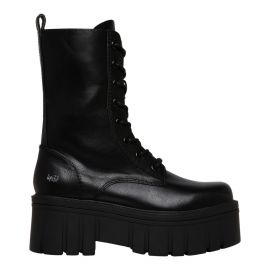 Women's black laceup hightop biker boot from Lipstik shoes