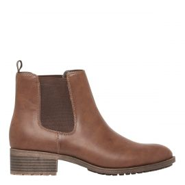 Women's brown gusset boots - side view - Lipstik Shoes